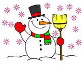 Dibujo muñeco de nieve con escoba pintado por m-l-p-c