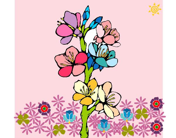 Dibujo de florecillas en primavera pintado por Estefanyta en ...