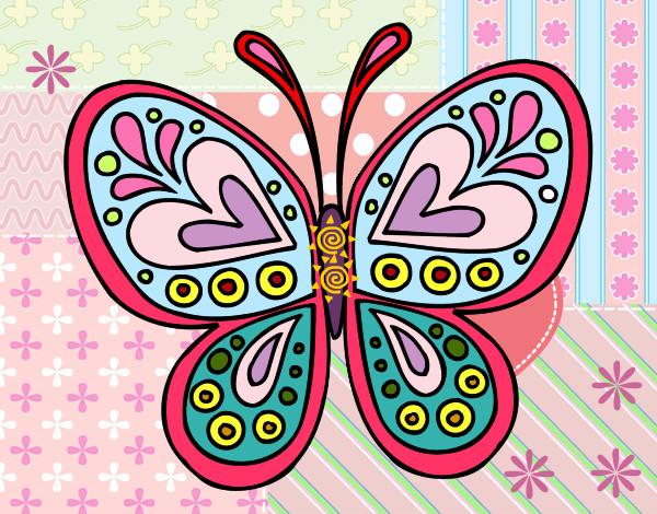 Dibujo de mandala mariposa pintado por yezus en dibujos - Dibujos pintados en la pared ...
