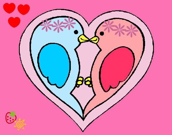 San Valentin Dibujos En Color: Dibujo De Pajaros En Corazon Pintado Por Risitapop En