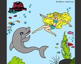 Dibujo Barbie jugando con un delfín pintado por luzmari