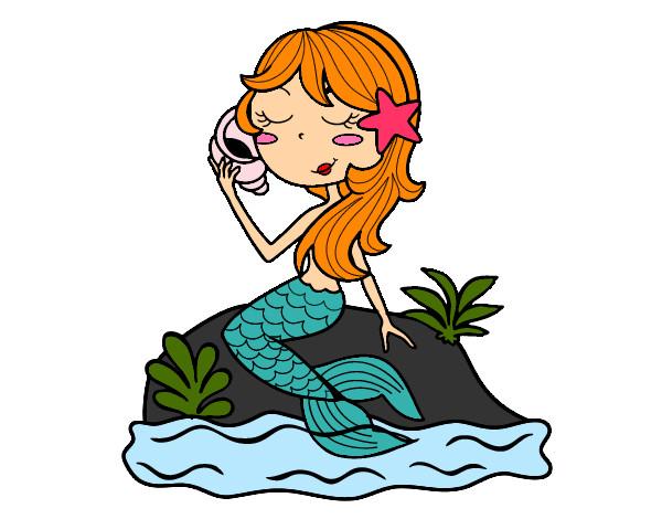 Dibujo De Sirena Sentada En Una Roca Con Una Caracola Pintado Por