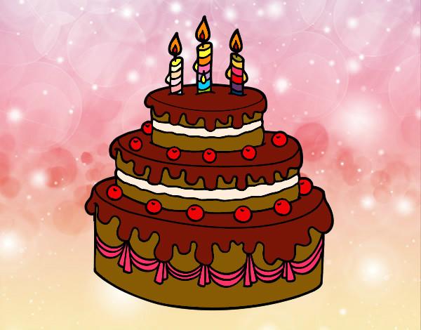 Dibujo de Tarta de cumpleaños. pintado por Mari101 en ...
