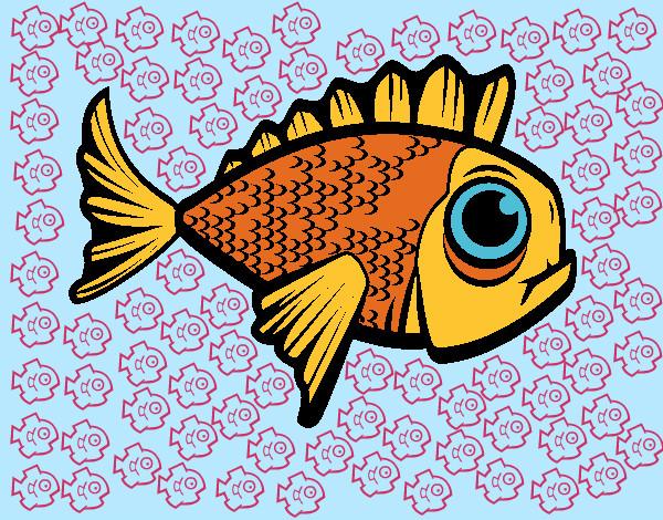Dibujo de Pezecitos y el Pez Dorado pintado por Cari en Dibujos