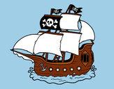 Dibujo Barco pirata pintado por jfrkffkkf