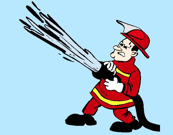 Dibujo de bombero con manguera de agua pintado por Jfrkffkkf en