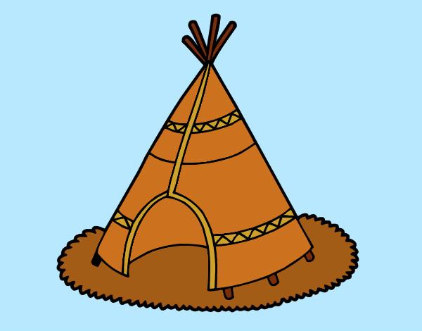 Dibujo de cabaa de indios pintado por Jfrkffkkf en Dibujosnet el