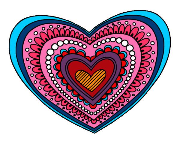 Dibujos De Corazones Coloridos: Dibujo De Mandala Corazón Pintado Por Taus En Dibujos.net