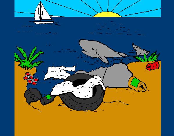 Dibujo De Playa Contaminada Pintado Por Benjaniste En Dibujosnet El