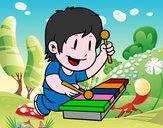 Dibujo Niño con xilófono pintado por melabonita