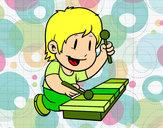 Dibujo Niño con xilófono pintado por partofme
