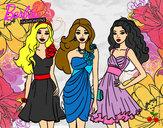 Dibujo Barbie y sus amigas vestidas de fiesta pintado por Bimi