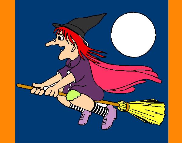 Dibujo de bruja en escoba pintado por Miriamp en Dibujosnet el