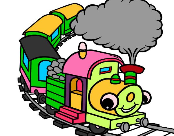 Image gallery tren dibujo for Dibujos infantiles pintados