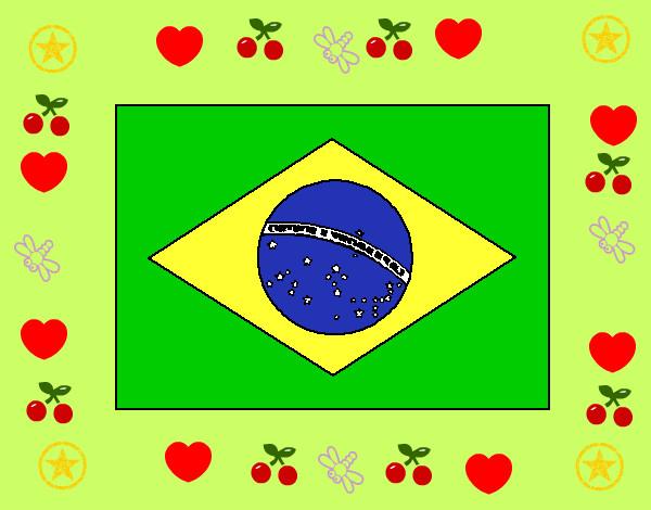 Bandera De Brasil Para Colorear: Dibujo De Bandera De Brazil Pintado Por Alejoknc En