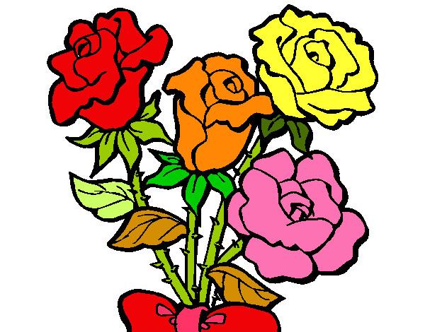 Flores En Dibujo A Color: Dibujo De Rosas De Colores Pintado Por Natalia27 En