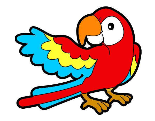Dibujo de Loro con ala abierta pintado por Inesnoe en Dibujos.net el