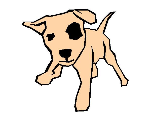 Dibujo de el perrito con una mancha en el ojo pintado por for Dibujos infantiles pintados