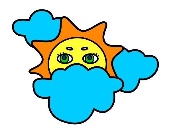 Dibujo de sol y nubes pintado por Marisoni en Dibujosnet el da