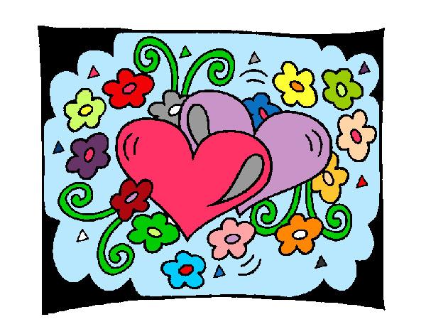 Dibujo de corazon de colores pintado por Gissel1199 en Dibujosnet