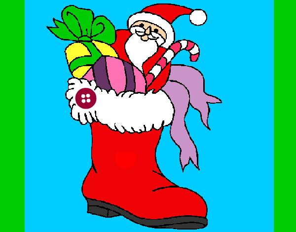 Dibujo De Bota De Navidad Pintado Por Zoeliux En Dibujosnet