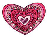 Dibujo Mandala corazón pintado por ester1222