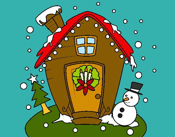 Dibujo de casita en navidad pintado por anniemch en for Dibujos de navidad pintados