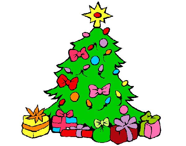 Dibujo de arbol de navidad d pintado por crislove en for Dibujos de navidad pintados