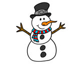Dibujo Muñeco de nieve con sombrero pintado por albochi