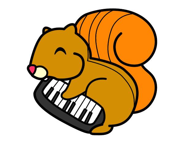 Dibujo de Ardilla pianista pintado por Maxi6 en Dibujosnet el da