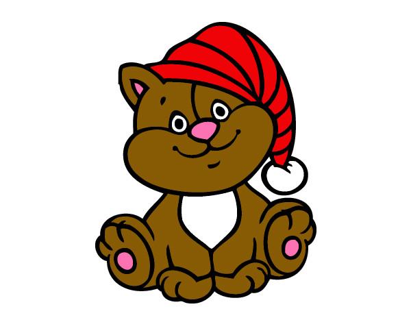 Gatito con una gorra de navidad