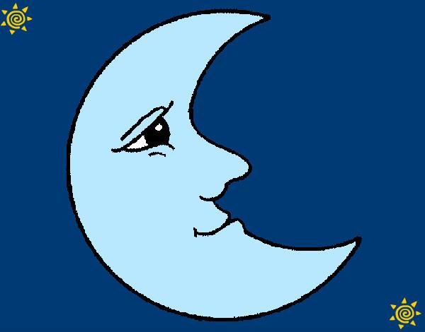 Dibujo de luna lunara cascabelera pintado por azulina en - Dibujos de lunas infantiles ...