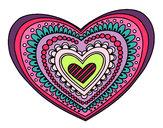 Dibujo Mandala corazón pintado por anloca