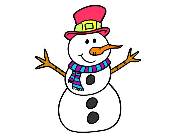 Dibujo de mu eco de nieve con sombrero pintado por fer27 - Dibujos en color de navidad ...