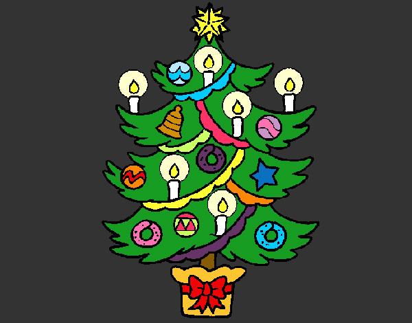 Dibujos De Velas De Navidad Para Colorear: Dibujo De Árbol De Navidad Con Velas Pintado Por