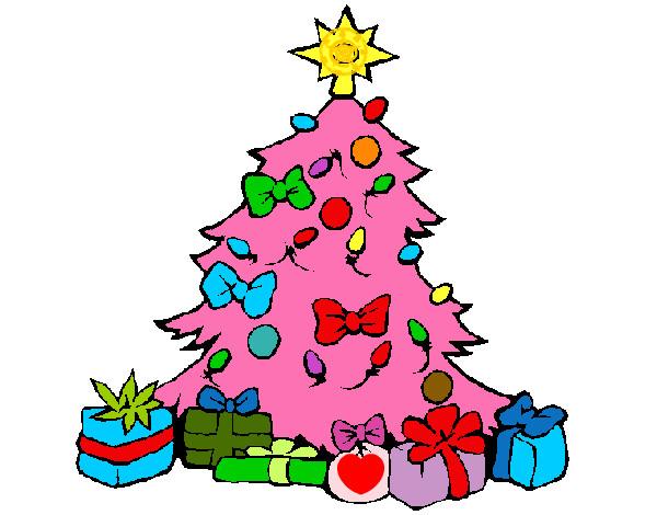 Dibujo de mi rbol de navidad rosa pintado por janami en for Dibujos de arboles de navidad
