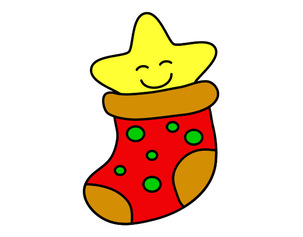 Dibujo de calcet n con estrella pintado por chiqui mon en - Dibujos navidad en color ...