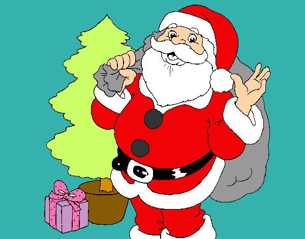 Dibujo de papa noel pintado por satar en el for Dibujos de navidad pintados