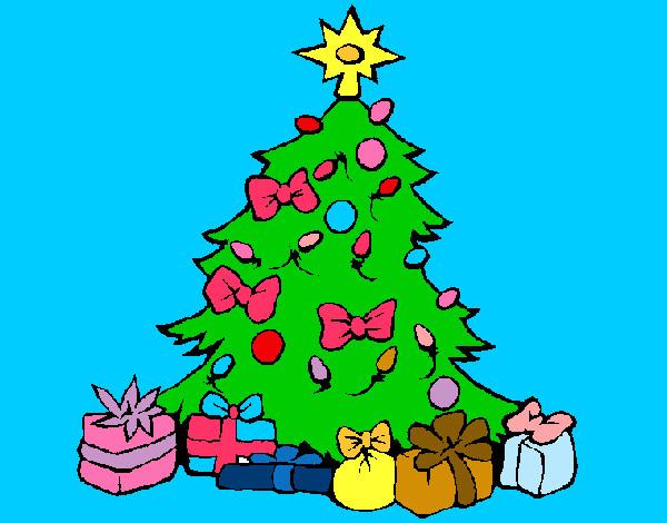 Dibujo de arbol pintado por nisi en el d a 13 for Dibujos de navidad pintados