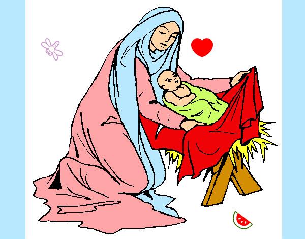 Dibujo de maria y jesus pintado por Liptup en Dibujosnet el da