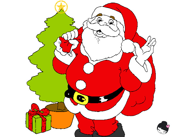 Dibujo de santa claus y un rbol de navidad pintado por for Dibujos de navidad pintados