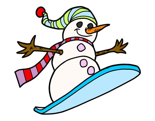 Dibujo de muñeco de nieve patinando pintado por Cesiia en