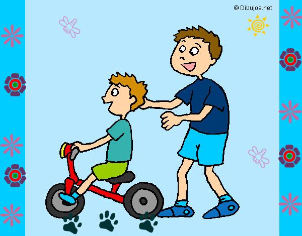 Dibujo de Primer paseo en bicicleta pintado por Pablaudia en