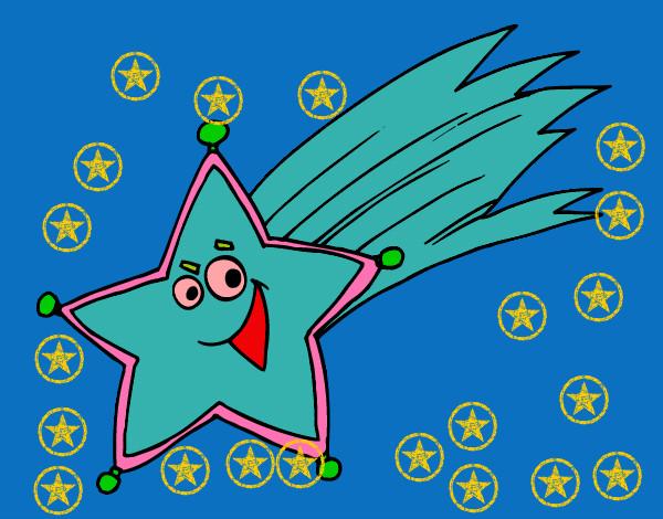 Dibujo de estrella fugaz pintado por anarubiolo en dibujos for Estrella fugaz navidad