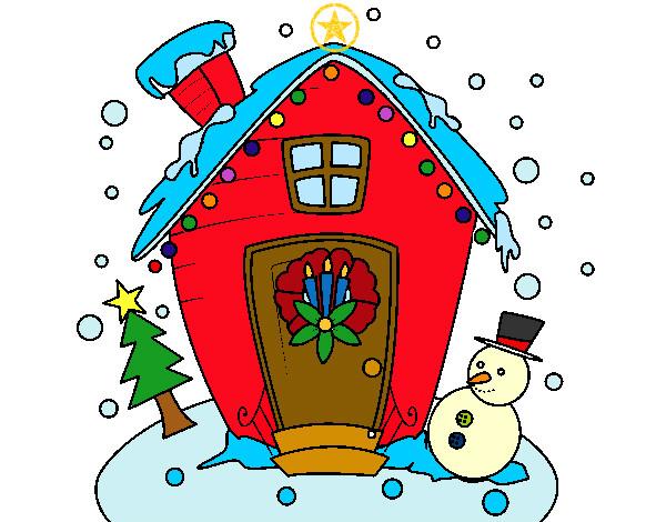Dibujo de casa adornada pintado por rdelcar en for Dibujos adornos navidad
