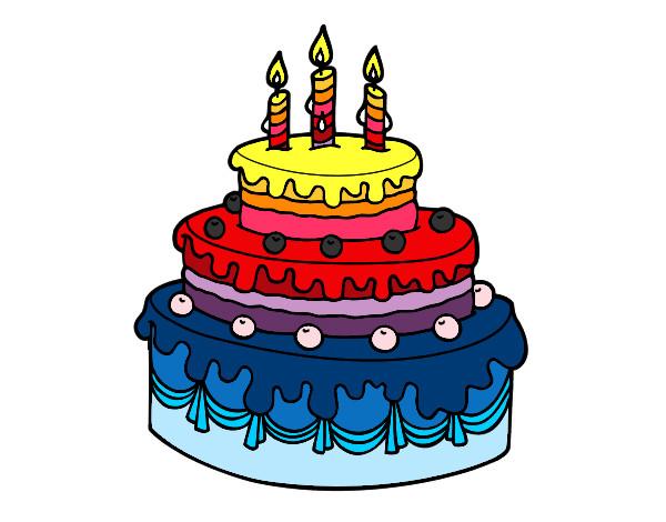 Dibujo de tarta arcoiris pintado por carlyguai en dibujos - Dibujos de tartas para colorear e imprimir ...