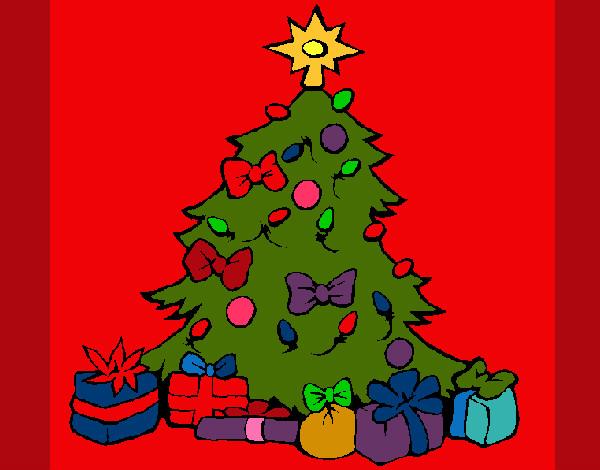 Dibujo de arbol navideno pintado por leea en - Arbol de navidad infantil ...