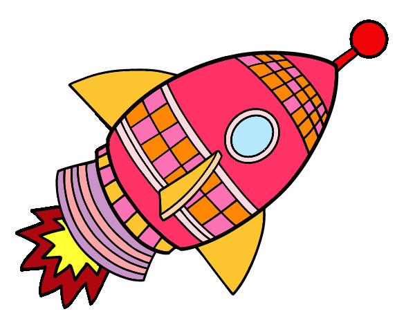 Cohete De Astronauta Y Vintage De Dibujos Animados: Nave Espacial Dibujo