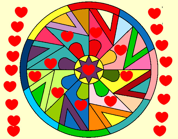 Dibujo de mandala 25 mandala de corazones pintado por - Dibujos infantiles para imprimir pintados ...