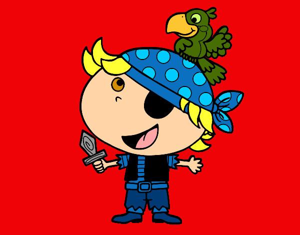 Dibujo de Pirata niño con loro pintado por Amalia en Dibujos.net ...
